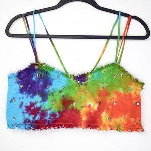 *Tie Dye* Rainbow Zara Beaded Flowers Crop Top